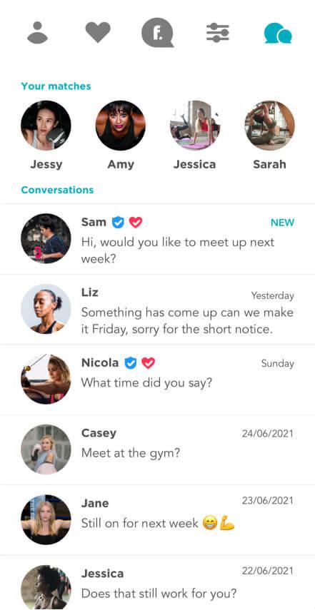 Fitafy App - Inbox Screenshot